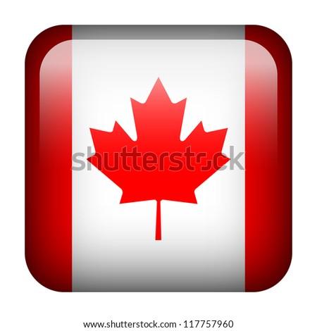 Square flag button series - Canada - stock photo