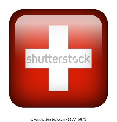 Square flag button series - Switzerland