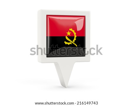 Square flag icon of angola isolated on white
