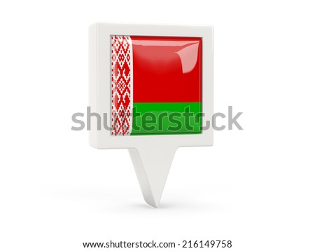Square flag icon of belarus isolated on white - stock photo