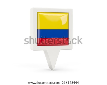 Square flag icon of colombia isolated on white - stock photo