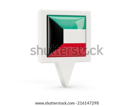 Square flag icon of kuwait isolated on white - stock photo