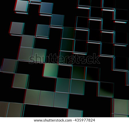 Square frame background - Design Concept. On a black background. 3D illustration. Anaglyph. View with red/cyan glasses to see in 3D. - stock photo