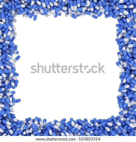 Square frame made from blue capsules - stock photo
