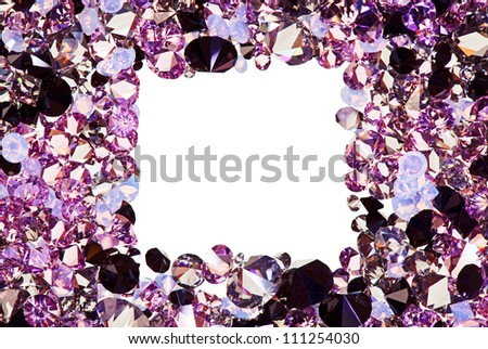 Square frame made from many small purple diamonds, with copyspace