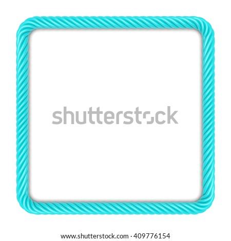 Square frame made up of blue rope. 3d image