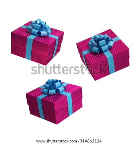 square gift box in different points of view, present in different positions, 3d illustration - stock photo