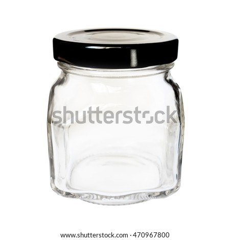 Square glass bottle / jar with black cap, isolated on white background
