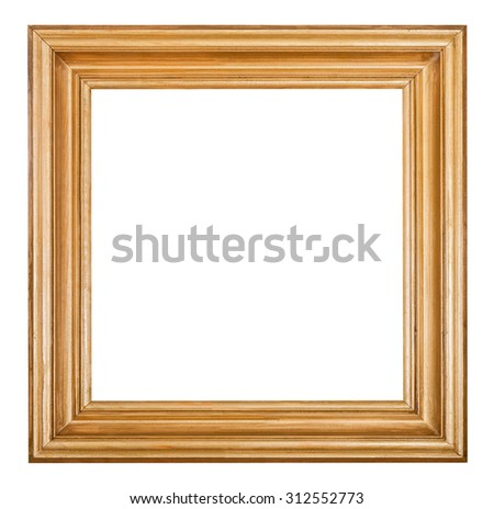 square golden lacquered wooden picture frame with cut out blank space isolated on white background
