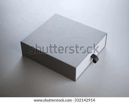 Square gray box in white studio