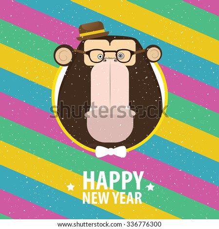 Square greeting card Happy New Year with hipster monkey in varicolored frame | raster version - stock photo