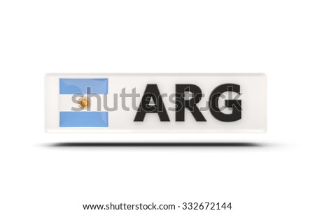 Square icon with flag of argentina and ISO code - stock photo