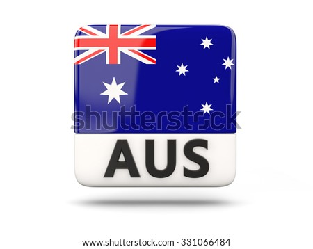 Square icon with flag of australia and ISO code - stock photo