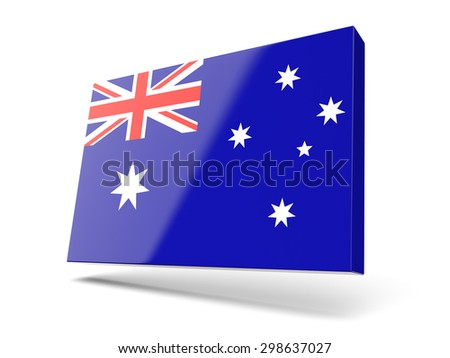 Square icon with flag of australia isolated on white