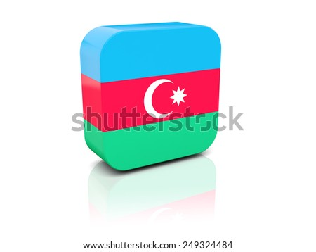 Square icon with flag of azerbaijan with reflection - stock photo