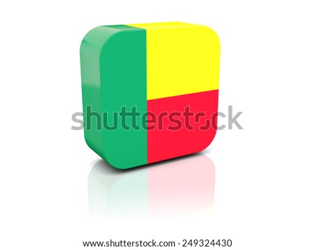 Square icon with flag of benin with reflection - stock photo