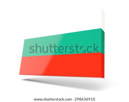 Square icon with flag of bulgaria isolated on white