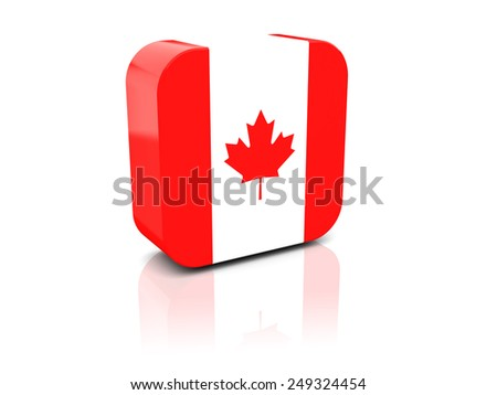 Square icon with flag of canada with reflection - stock photo