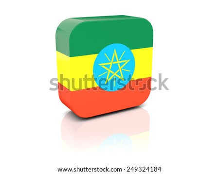 Square icon with flag of ethiopia with reflection - stock photo