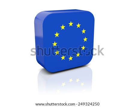 Square icon with flag of european union with reflection - stock photo