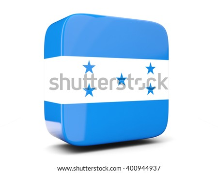 Square icon with flag of honduras square isolated on white. 3D illustration