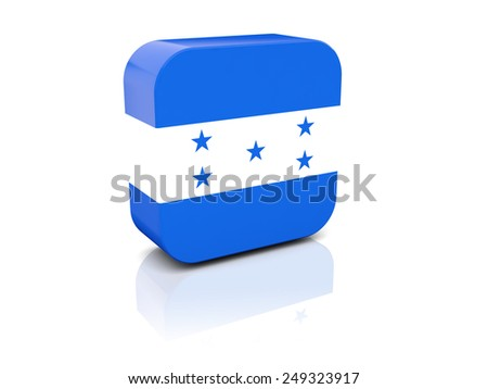 Square icon with flag of honduras with reflection