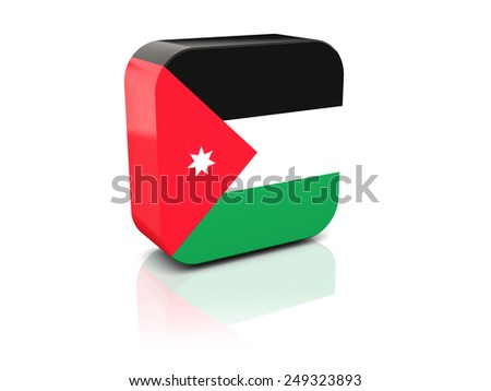 Square icon with flag of jordan with reflection