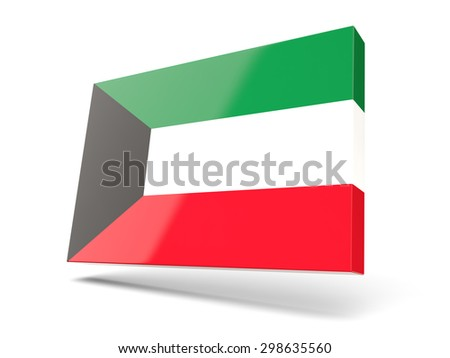 Square icon with flag of kuwait isolated on white - stock photo