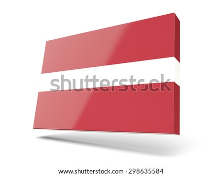 Square icon with flag of latvia isolated on white