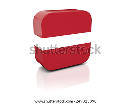 Square icon with flag of latvia with reflection