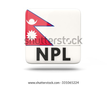 Square icon with flag of nepal and ISO code - stock photo