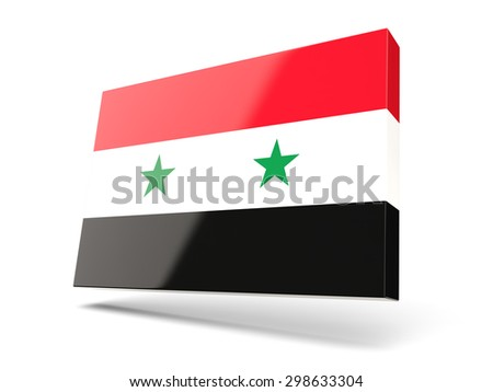 Square icon with flag of syria isolated on white - stock photo