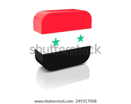 Square icon with flag of syria with reflection - stock photo