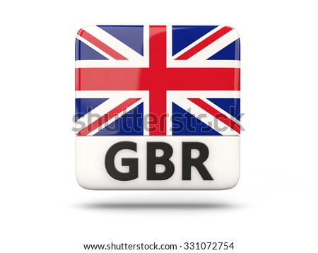 Square icon with flag of united kingdom and ISO code - stock photo