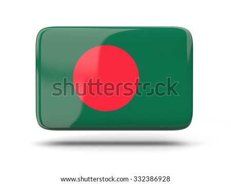 Square icon with shadow and flag of bangladesh - stock photo