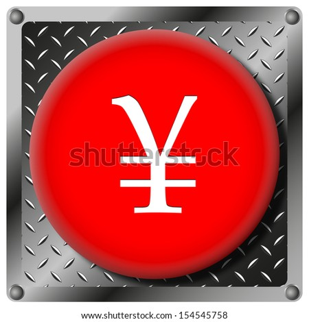 Square icon with white design on red plastic and metallic background - stock photo