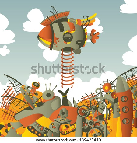 square illustration with dirigible - stock photo