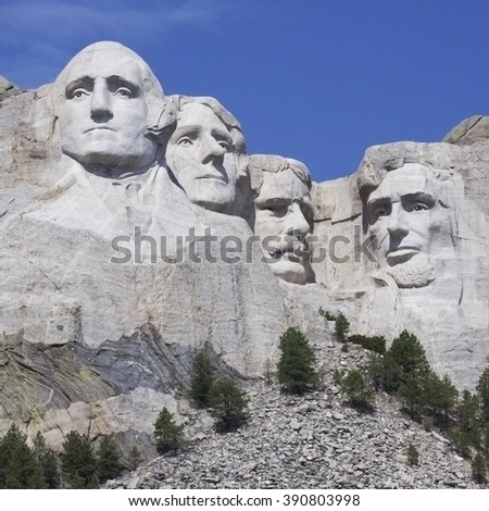 Square image of Mount Rushmore National Monument in South Dakota. Summer day with clear skies. - stock photo