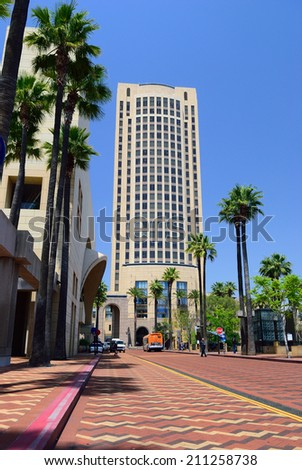 Square in front of the train station in Los Angeles - stock photo