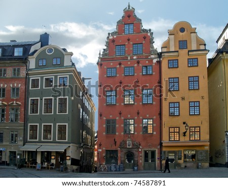 square in old down town (Gamla Stan), Stockholm, Sweden - stock photo