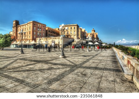 square in Saint Remy Bastion, Cagliari. Processed for hdr tone mapping effect. - stock photo