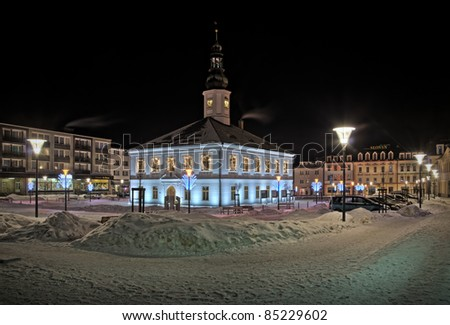 Square in the town of Jesenik - Czech Republic - stock photo