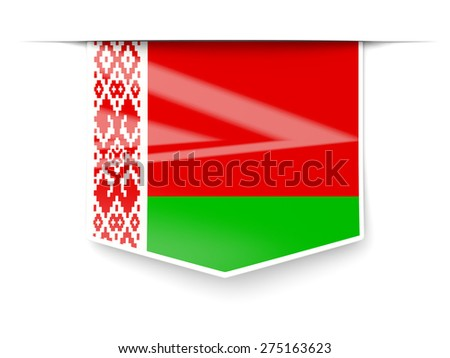 Square label with flag of belarus isolated on white