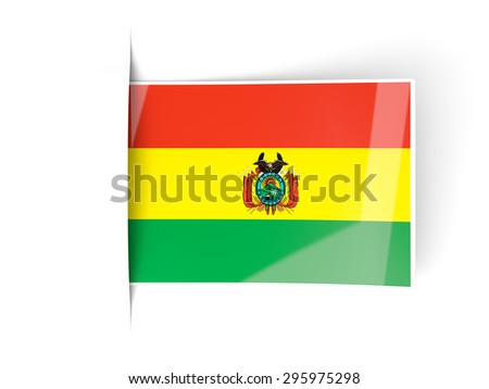 Square label with flag of bolivia isolated on white - stock photo