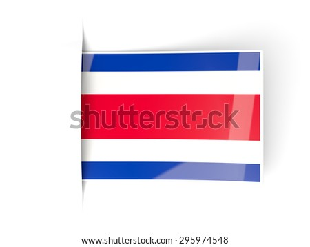 Square label with flag of costa rica isolated on white - stock photo