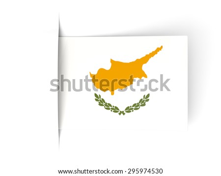Square label with flag of cyprus isolated on white - stock photo