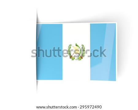 Square label with flag of guatemala isolated on white - stock photo