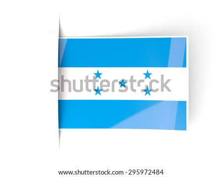 Square label with flag of honduras isolated on white - stock photo