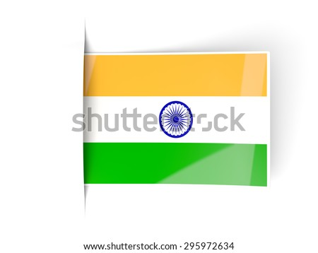 Square label with flag of india isolated on white - stock photo