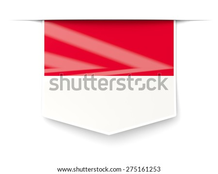 Square label with flag of indonesia isolated on white
